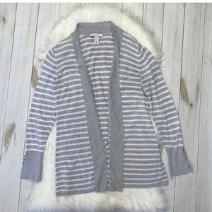 WHBM Striped Open Front Cardigan